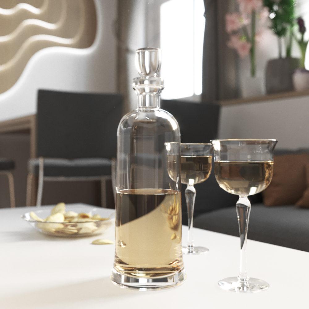 closeup image of wine bottle in modern kitchen interior